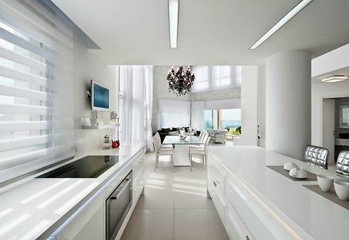 מבט מהמטבח אל פינת האוכל והסלון (צילום: עודד סמדר) (צילום: עודד סמדר)