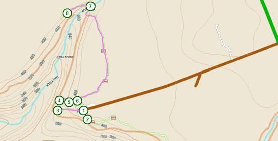 מפת הטיול בגמלא  ( ) ( )