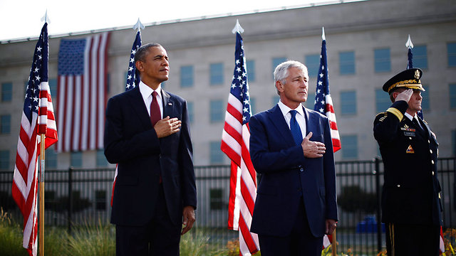 Obama, Hagel during 9/11 memorial ceremony (Photo: Reuters)