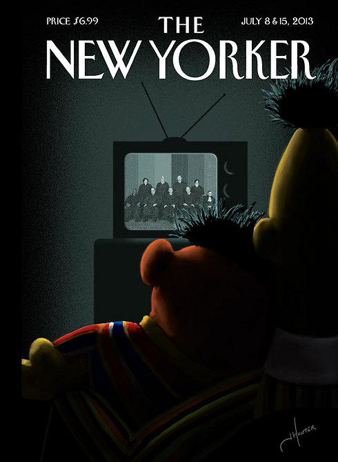 """אריק ובנץ על שער """"הניו-יורקר"""", יולי 2013 (מתוך מגזין ניו יורקר) (מתוך מגזין ניו יורקר)"""