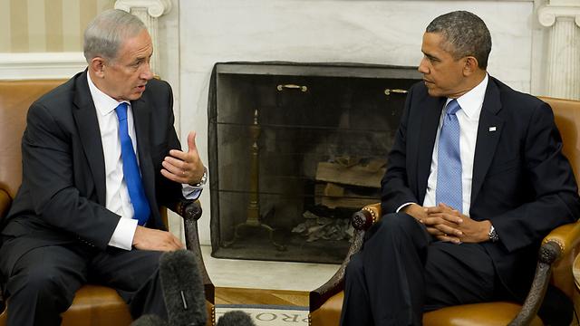 צינה נושבת בין שני המנהיגים. אובמה ונתניהו בבית הלבן (צילום: AFP)