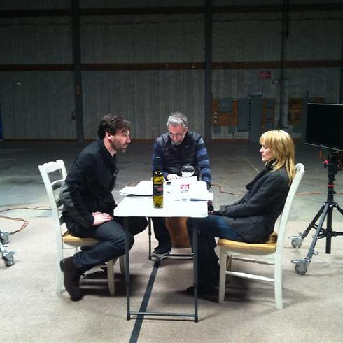 ארי פולמן עובד עם רובין רייט וג'ון האם לפני המרתם לדמויות מונפשות ()