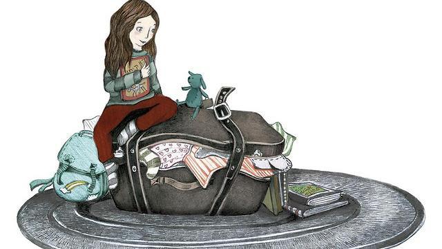 מזוודה ומחבוא של ספרים. על חווית ההגירה (איור: כנרת גילדר) (איור: כנרת גילדר)