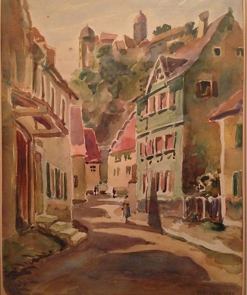 הציור מבהיר את מבנה הרחוב והבית עם הארובה והצוהר הייחודי ()