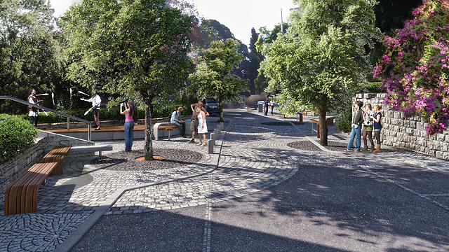 הכביש בשכונת הדר יהפוך לכיכר (צילום והדמיה: אב אדריכלות נוף ו-AP studio) (הדמיה: אב אדריכלות נוף ו-studio AP)