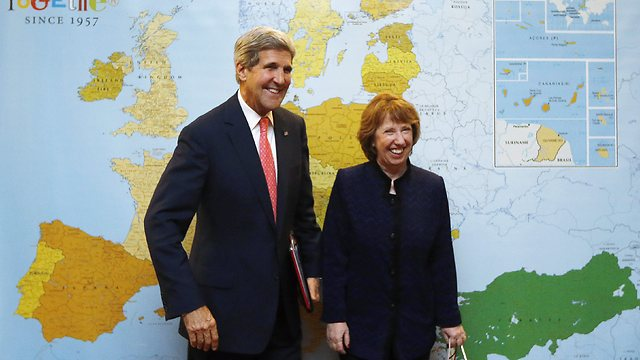 Kerry, Ashton in Geneva (Photo: AP)