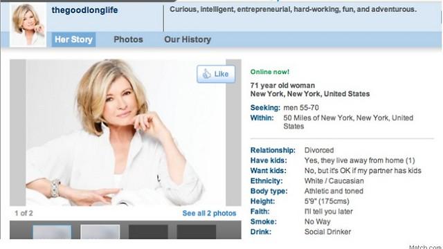 כיפית והרפתקנית. גם בגיל 71. סטיוארט (צילום מסך match.com)