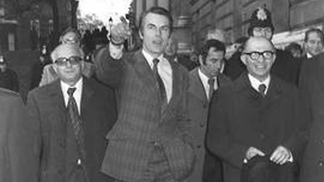 Kadishai, UK FM Owen, Begin, 1977 (Photo: Sa'ar Yaakov, GPO)
