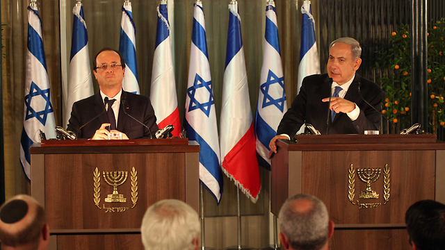 Hollande, Netanyahu (Photo: Yoav Dudkevitch)