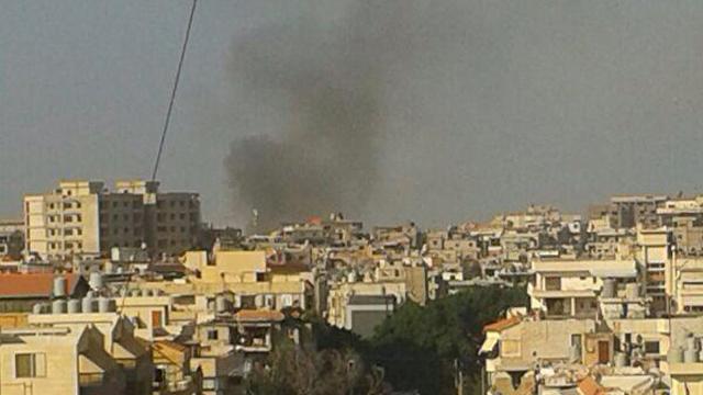 עשן מיתמר מעל אזור הפיצוץ בדרום ביירות
