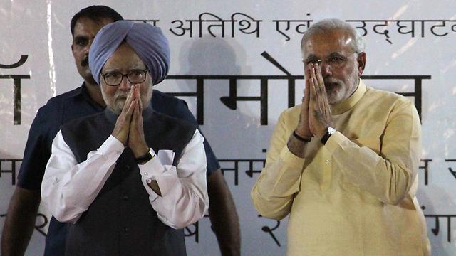ראש הממשלה ויורשו? סינג (משמאל) ומודי (צילום: AP) (צילום: AP)