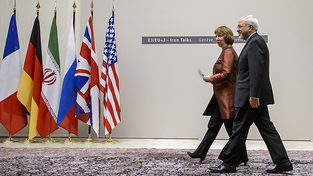 Ashton, Zarif during announcement of nuclear deal in Geneva (Photo: AFP)