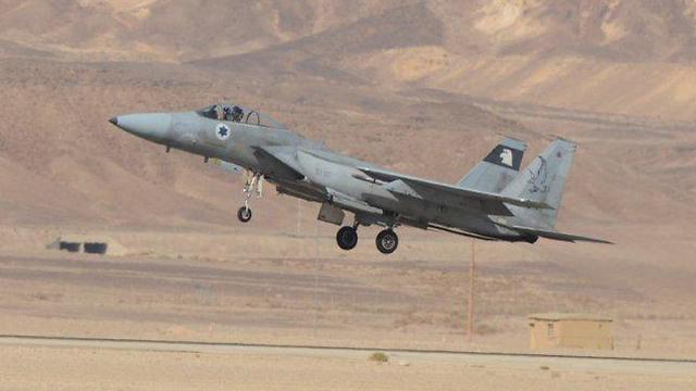 Israel 'Falcon' jet taking off during previous Blue Flag drill, 2015 (Photo: Yair Sagi)