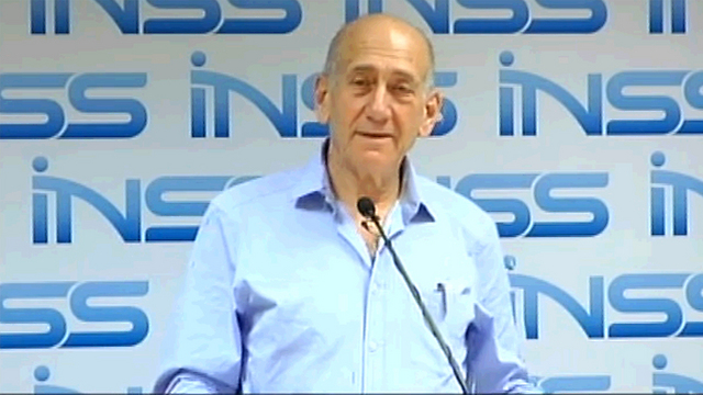 Ehud Olmert at the INSS (Photo: Hagai Dekel) (Photo: Hagai Dekel)