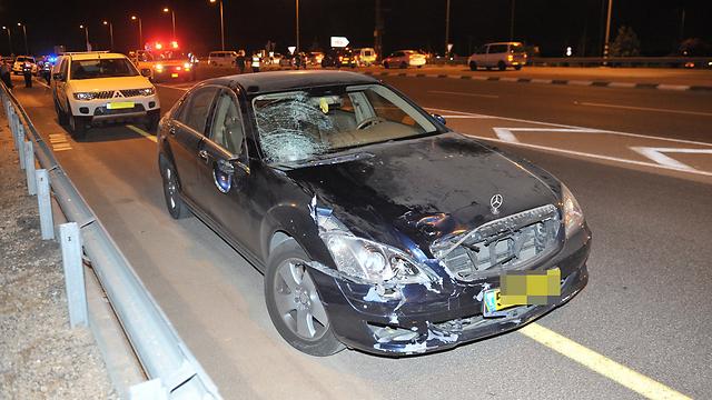 זירת התאונה, הערב (צילום: אבי רוקח) (צילום: אבי רוקח)