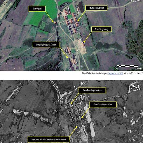 מחנה 16 ב-2011 (למעלה) ואותו המחנה עם המבנים החדשים ב-2013 (צילום: AFP) (צילום: AFP)