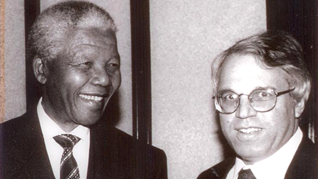 Alon Liel (right) with former South African president Nelson Mandela. Liel is now part of the subversive, damaging left