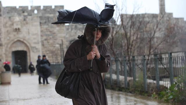 Heavy rain in Jerusalem (Photo: Gil Yohanan)