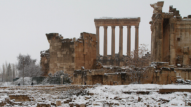 Snow-covered ruins in Lebanon (Photo: AFP) (Photo: AFP)