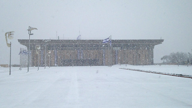Knesset in white (Photo: Amitai Young)