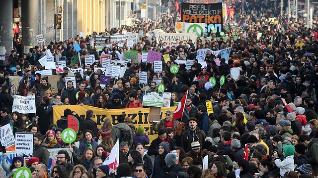 הפגנה נגד ארדואן, מוקדם יותר החודש      (צילום: AFP) (צילום: AFP)