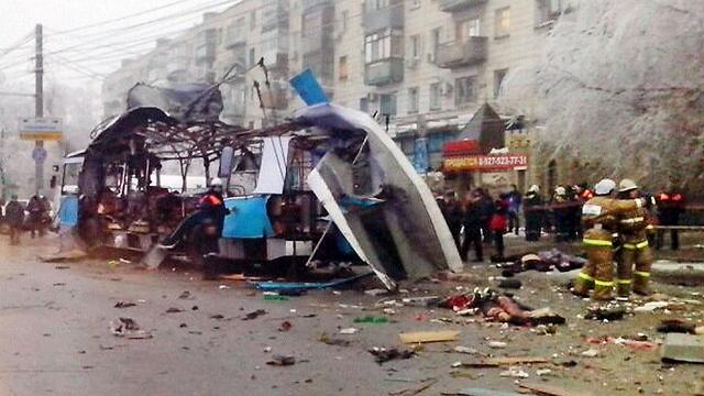 זירת הפיגוע בעיר וולגוגרד, אתמול (צילום: AFP PHOTO / INTERIOR MINISTRY PRESS SERVICE) (צילום: AFP PHOTO / INTERIOR MINISTRY PRESS SERVICE)