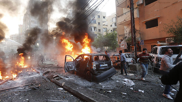 Scene of anti-Hezbollah blast in group's Dahiya stronghold (Photo: AFP)