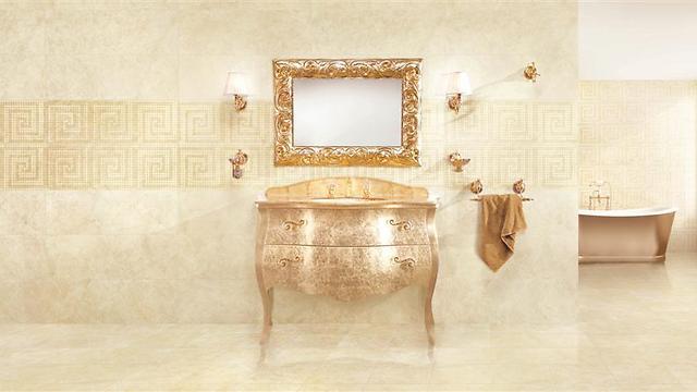 חדר רחצה בסגנון מוזהב (צילום באדיבות רשת חרש) (צילום באדיבות רשת חרש)