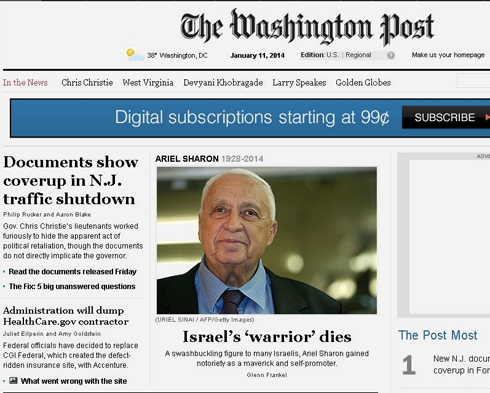 The Washington Post terms Sharon 'Israel's 'Warrior''