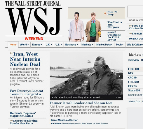 The Wall Street Journal, considered a fairly conservative newspaper, choose the title 'Israel mourns a warrior'