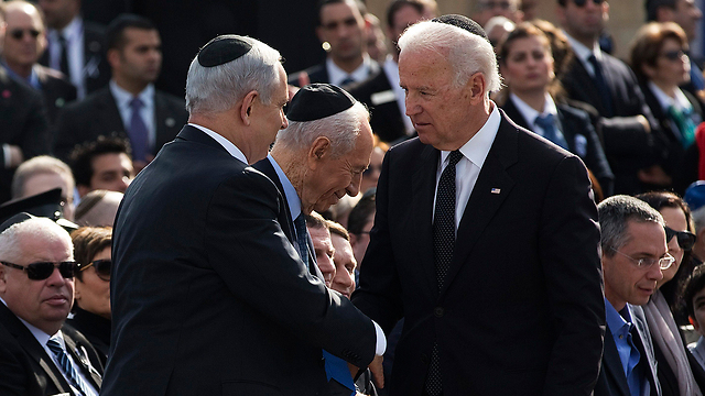 Biden and Netanyahu at the funeral of former PM Sharon (Photo: Reuters) (Photo: Reuters)