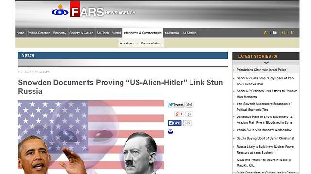 """היטלר, אובמה וחייזרים. הידיעה ב""""פארס"""" ()"""