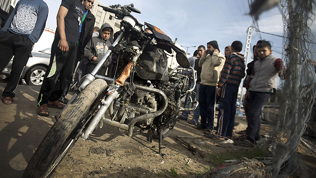 Archive: Motorcyclist struck in Gaza (Photo: AFP)