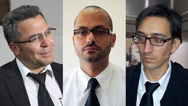 מימין לשמאל: עורכי הדין ליטן, דרחי וסוחמי (צילום: מוטי קמחי) (צילום: מוטי קמחי)