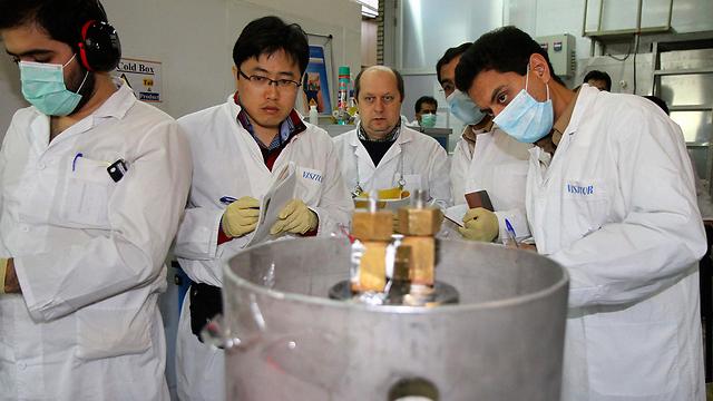 IAEA inspectors and Iranian technicians at the Natanz uranium enrichment plant (Photo: AP) (צילום: AP)