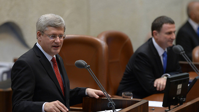 Canadian PM addresses a special session of Knesset (Photo: Amos Ben Gershom, GPO)