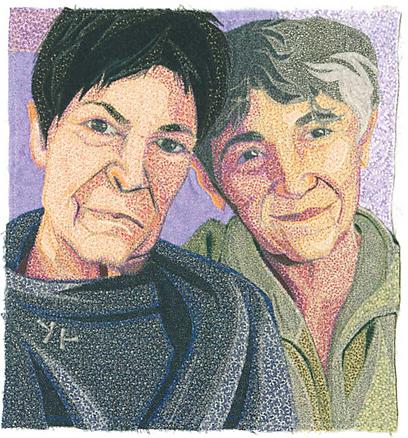 """שתי נשים ב""""איחוד אזרחי"""" (קרדיט: דיידרה שכרר, מוזיאון היברו יניון קולג') (קרדיט: דיידרה שכרר, מוזיאון היברו יניון קולג')"""