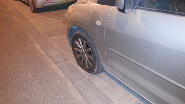One of the slashed tires (Photo: Baruch Silver)