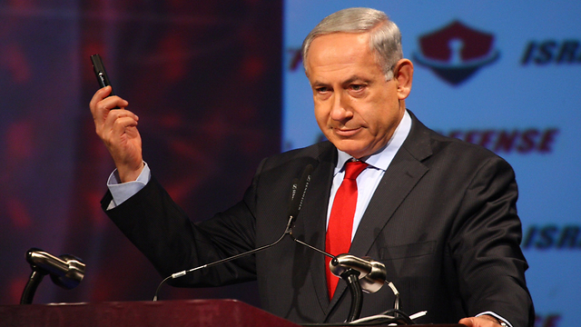 Netanyahu at a cyber-conference in Tel Aviv (Photo: Motti Kimchi)