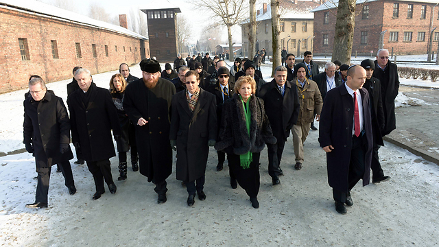 The delegation in Poland (Photo: Haim Tzach)