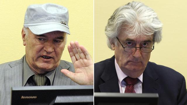 מלדיץ' וקרדז'יץ'. מואשמים בפשעי מלחמה וברצח עם (צילום: AFP)