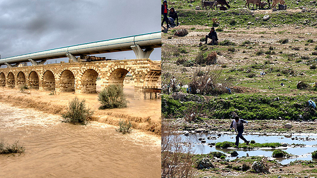 Nahal Beersheba (Beersheba Stream): From flowing in 2013 to almost dry in 2014 (Photo: Roee Ida, Omri Haruv)
