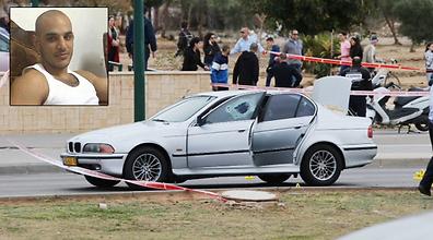 Taar Lala's car at the scene of the shooting. (Photo: Motti Kimchi)