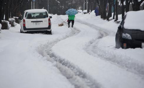 מפנים שלג בכביש ביוקוהמה (צילום: AP) (צילום: AP)