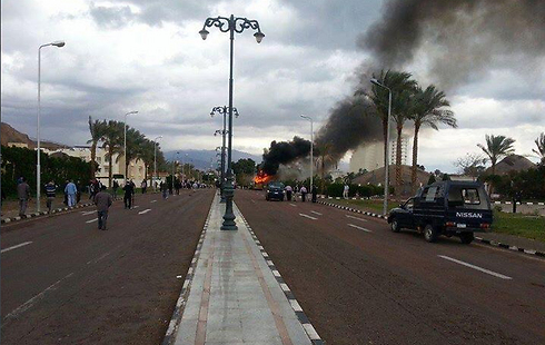 Tourist bus explosion near Taba border crossing.