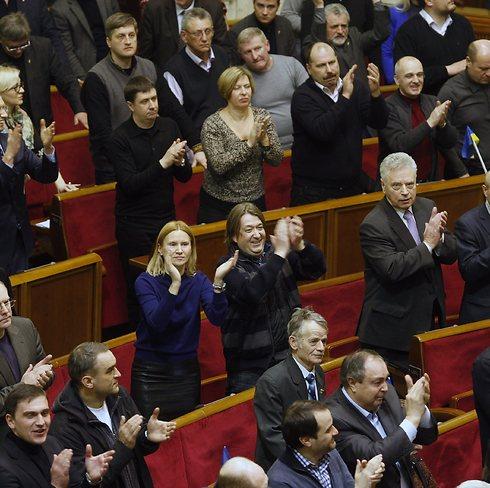 הפרלמנט האוקראיני אחרי אישור ההסכם (צילום: EPA) (צילום: EPA)
