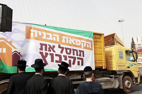 שיירת המשאיות בירושלים, הבוקר (צילום: אמנון גוטמן) (צילום: אמנון גוטמן)