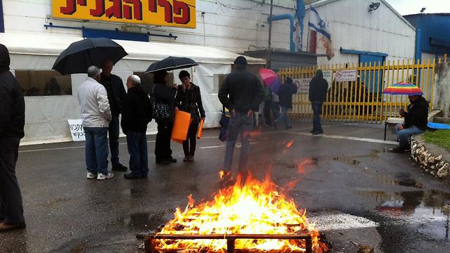 במהלך מאבק העובדים על מפעל פרי הגליל (צילום: מאור בוכניק) (צילום: מאור בוכניק)