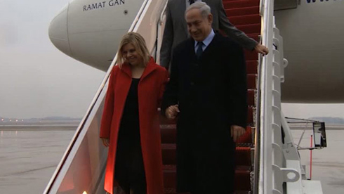 Prime Minister Netanyahu and his wife arriving in Washington, DC (Photo: Roi Abraham, GPO)