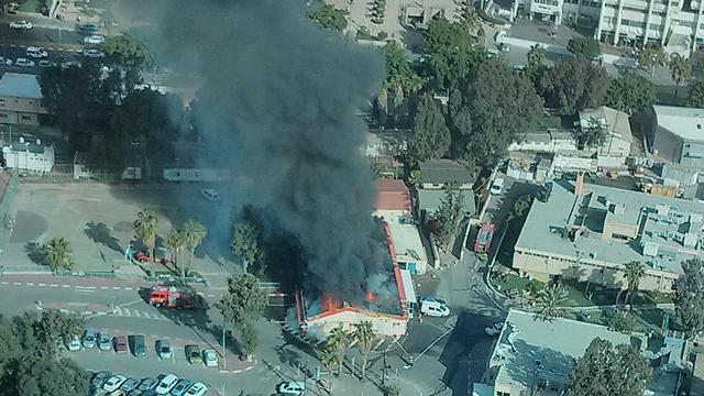 Kirya mess hall ablaze (Photo: Reuters)